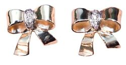 Bow Earrings-18k Gold And Diamonds-true Beauty Is Within. Jewelry Is Gift Wrapping