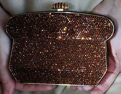 JUDITH LEIBER ETRUSCAN BRONZE JEWELED SWAROVSKI CRYSTAL MINAUDIERE EVENING BAG