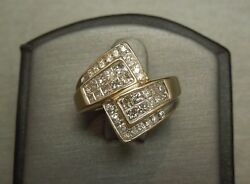 Vintage Retro Estate C1980 14k Gold 1.25tcw Square And Round Diamond Bypass Ring