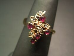 Vintage 1980s 14kt Gold 0.62ct Ruby And Diamond Cluster Ring - July Birthstone