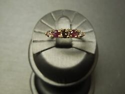 Vintage Estate 14k Gold 1.23tcw Natural Ruby And Fancy Cognac Diamond Band