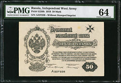 Russia Independent West Army 50 Mark 1919 Pick S230b Pmg 64 Choice Unc