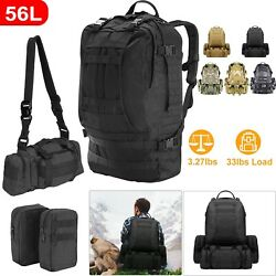 4-in-1 55L Outdoor Military Molle Tactical Backpack Rucksack Camping Bag Travel $33.60