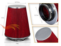 3.5 Cold Air Intake High Flow Truck Filter Universal Red For Mitsubishi
