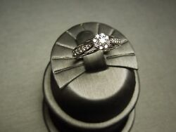 Circa 1990 14kt White Gold 0.50ct Diamond Cluster Halo Engagement Ring
