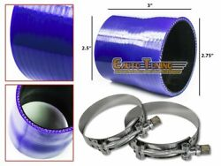 2.75 To 2.5 Silicone Intercooler Pipe Coupler Blue +t-bolt Clamp For Chevrolet