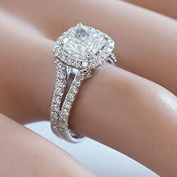 14k White Gold Cushion Forever One Moissanite And Diamond Engagement Ring 2.70ct