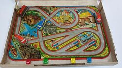 Vintage Old Boar Game Tin Toy Wind-up Cars Bus Budapest Station / Box