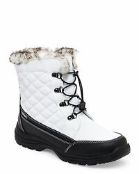 NEW WOMEN#x27;S WHITE WATERPROOF FAUX FUR TOBY TOTES BOOTS LACES AND SIDE ZIPPER $54.95