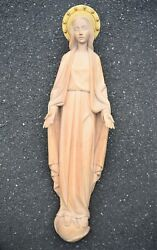 + Hand Carved Wood Statue of Mary only about 3' tall + Church + chalice co. +