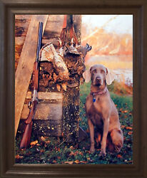 Wild Weimaraner Dog Hunting Animal Wall Decor Brown Rust Framed Print Picture