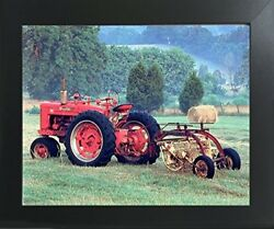 Red Farmall M Vintage Farm Tractor Wall Decor Contemporary Black Framed Picture