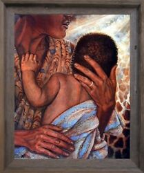 Mother With Child African American Barnwood Wall Framed Native American Picture