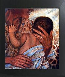 Mother With Child African American Fine Native American Wall Art Framed Picture