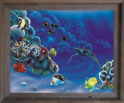 Tropical Fish and Tortoise (Turtle) Underwater Ocean Animal Wall Framed Picture