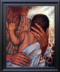 African American Mother And Child Native American Wall Art Black Framed Picture