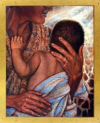 Mother With Child African American Fine Golden Framed Native American Picture