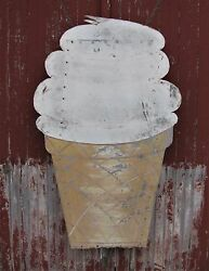 Vintage Painted Tin Ice Cream Cone Sign Shipping Available