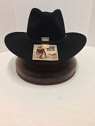 JOHN WAYNE 6X FUR FELT DUKE COWBOY HAT RESISTOL BLACK-No Tax Sell+Free Hat Brush