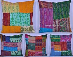 10 Pc Kantha Pillows Cushion Covers Silk Vintage Patchwork Hand Quilted 16x16