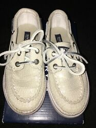 Girls Sperry Top Sider Bahama Off White Beige Sequin Sperrys Size 10