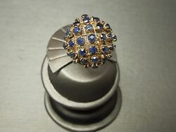 Vintage 1950s Handmade Siam 14kt Gold 3ct Sapphire Button Cluster Dome Ring