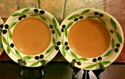2 Williams Sonoma Italy Pasta Soup Bowl 10 Olive Harvest Embossed Hand Painted