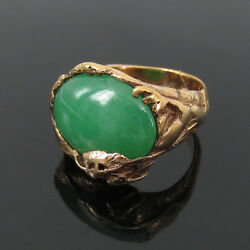 Antique Art Nouveau Natural Jadeite Jade And 14k Hand Made Gold Dragon Ring -7.75