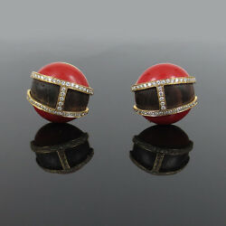 Vintage 0.61ct Diamond Ox Blood Red Coral And Wood 18k Yellow Gold Earrings