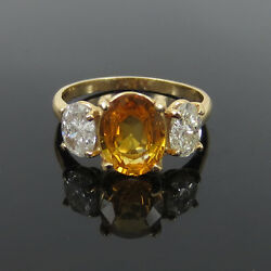 Vintage 1.73ct Oval Cut Yellow Sapphire And 0.85ct Diamond 14k Gold Ring - Size 6