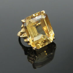1950andrsquos Retro 20.0ct Emerald Cut Natural Citrine And 14k Rose Gold Ring - Size 5