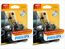 2x NEW PHILIPS STANDARD OEM HALOGEN H11 12362B1 HEADLIGHTS FOG LIGHT BULBS