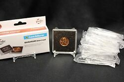 6 Penny Cent 2x2 Coin Snap Capsule 19mm Quadrum Intercept Case + Display Stand