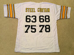 Unsigned Custom Sewn Stitched Steel Curtain White Jersey - Extra Large