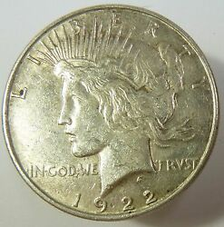 1922-p Vam 1a Line In Tiara Silver Liberty Peace Dollar 1 Us Coin Item 10420