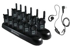 12 Motorola Cls1110 Two Way Radios With Headsets And 2 Bank Chargers