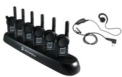 6 Motorola Cls1410 Two Way Radios With Earpieces And 6-bank Charger