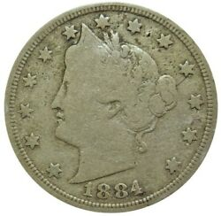 1884 United States Liberty V Nickel Coin Very Good Condition