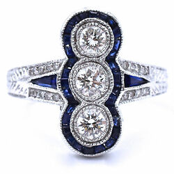 Vintage 1.30ct Total Diamond And Sapphire Coctail Ring Made In 18k White Gold