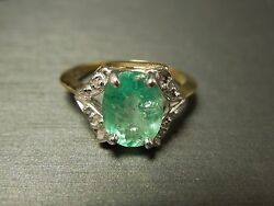 Vintage Estate C1970 14k Gold 2.06 Tcw Light Emerald And Diamond Solitaire Ring