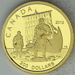 Canada 2012 200 The Vikings, Great Explorers Series 1, 99.99 Pure Gold Proof