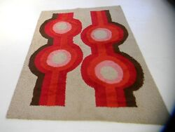 60s MidCentury Modern op art abstract art Vintage Shag Rug carpet loft eames era