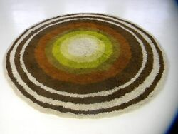 round panton era midcentury 60s 70s german pop art rug vintage shag rya carpet