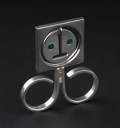 Vintage Bent Knudsen Sterling Silver Double Ring W. Green Agate Eyes 241. Rare