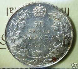 Canada 1917 , Fifty Cents , Iccs Certified