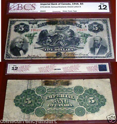 Chartered Banknote -imperial Bank Of Canada - 1916 5 - Certified - Fine 12