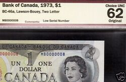 Lucky 8 1973 1 Bank Of Canada Fancy Serial 0000008 Canada Banknote