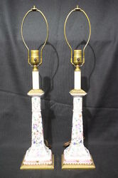 *PAIR* Handpainted Porcelain Candlestick Lamps; Beautifully Mounted With Brass
