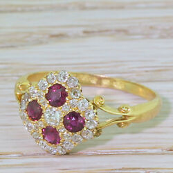 Edwardian Ruby And Old Cut Diamond Cluster Ring - 18k Yellow Gold - C 1905