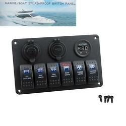 Waterproof 6 Gang LED Boat Car Rocker Switch Panel 12V Circuit Breakers Charger